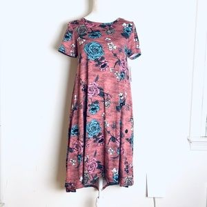 Lularoe Rose print Carly dress XS New